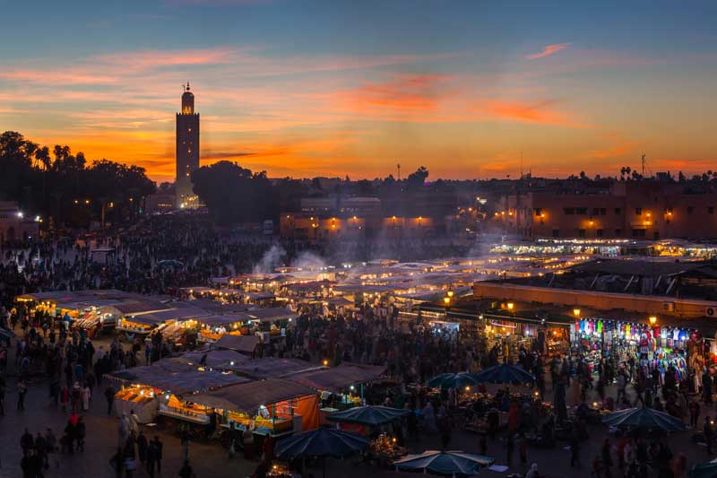 End of the day trading in the main square in Marrakech, Morocco.